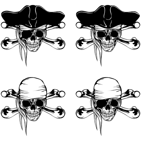 A Vector illustration pirate skull bandana and cocked hat and crossed bones set