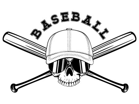 Abstract vector illustration black and white skull without lower jaw in sunglasses and baseball cap on crossed baseball bats. Inscription baseball. Design for tattoo or print t-shirt. Illustration