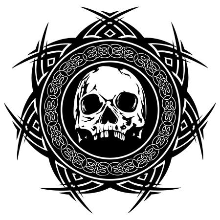 Cranio in bianco e nero dell'illustrazione astratta di vettore sull'ornamento rotondo con i nodi celtici. Design per tatuaggio o stampa maglietta.