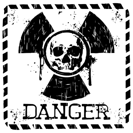 toxicity: Vector illustration square grunge black and white sign radiation to skull and lettering danger