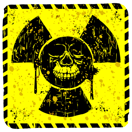 toxicity: Abstract vector illustration square grunge yellow sign radiation to skull Illustration