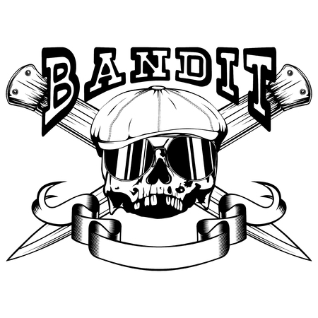 Vector illustration skull in cap with sunglasses and crossed knifes. Inscription bandit. For tattoo or t-shirt design.