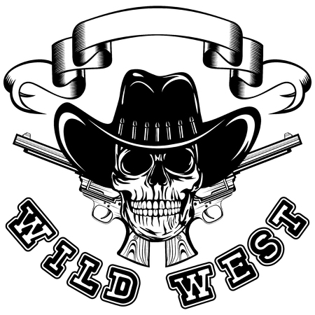 lawman: Vector illustration cowboy skull in hat and two revolvers. Lettering wild west.