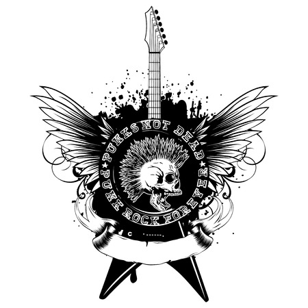 Vector illustration stamp and guitar on wings and grunge background. Imprint contains skull with mohawk and lettering punk not dead and punk rock forever. Design for t-shirt or poster print
