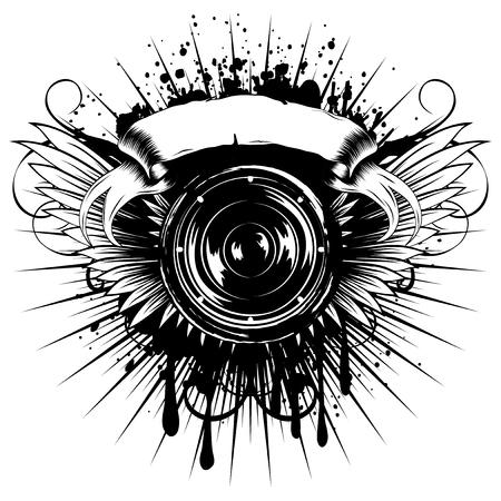 Vector illustration speaker and wings on grunge background