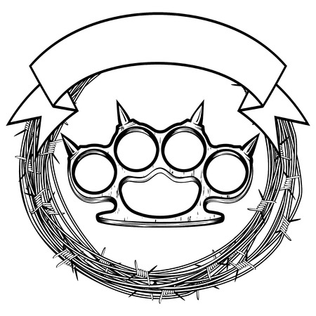barbed: Vector illustration barbed wire and brass knuckle. For tattoo or t-shirt design. Illustration