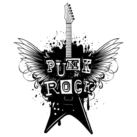 Vector illustration guitar and lettering punk rock on grunge background