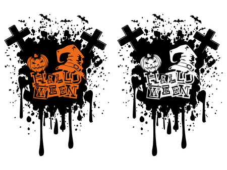 Vector illustration lettering halloween and jack-o-lantern pumpkin and witch hat set on grunge background. Illustration