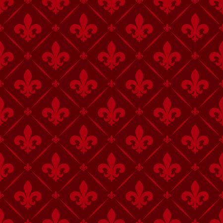 Vector illustratie rode naadloze achtergrond met lelie (fleur de lys) voor print weefsel of poster