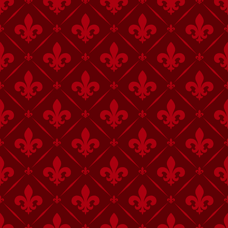 Vector illustration red seamless background with lily (fleur de lys) for print fabric or poster Illusztráció