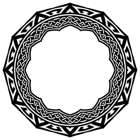 Illustrazione vettoriale astratto in bianco e nero illustrazione bella cornice di tracciato. Modello decorativo mandala etnico decorativo. Elemento di design per tatuaggio o logo. Archivio Fotografico - 80763465
