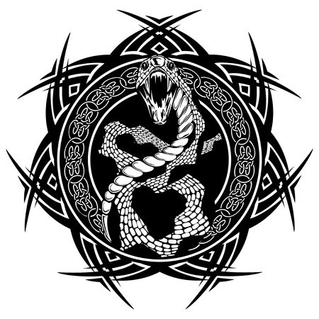Abstract vector illustration black and whide snake with open mouth on round ornament with celtic knots. Design for tattoo or print t shirt.