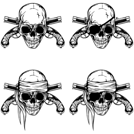 Vector illustration pirate skull bandana and crossed old pistols set