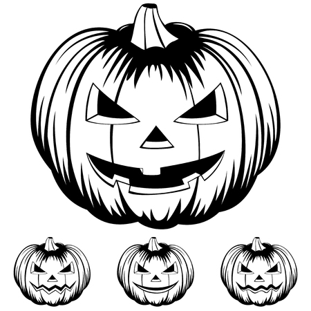 Vector black and white illustration jack-o-lantern halloween pumpkins set isolated on white background.