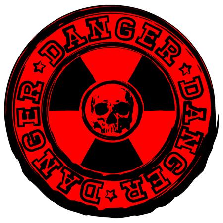 Illustration vectorielle rouge rond timbre avec signe de radioactivité et inscription en cercle danger. Au centre du symbole de rayonnement crâne grunge abstraite