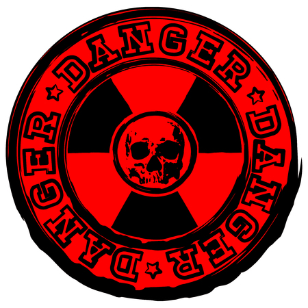 radioactive sign: Vector illustration red round stamp with radioactivity sign and inscription in circle danger. In center of radiation symbol abstract grunge skull