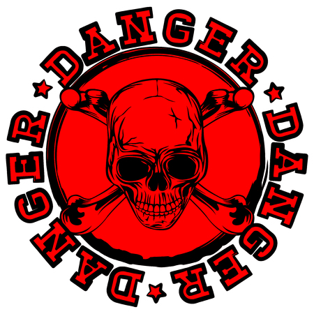 Abstract vector illustration red old round stamp with lettering danger and grunge skull with crossed bones