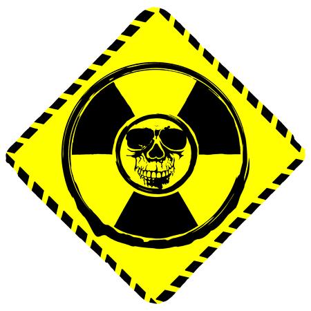 Vector illustration rhombic yellow icon radiation to skull