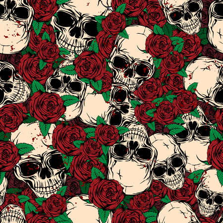 Vector illustration abstract grunge color background with skulls and roses for cloth or card
