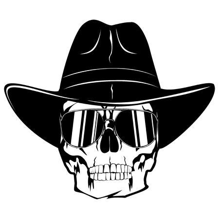 Vector illustration cowboy skull with sunglasses in hat