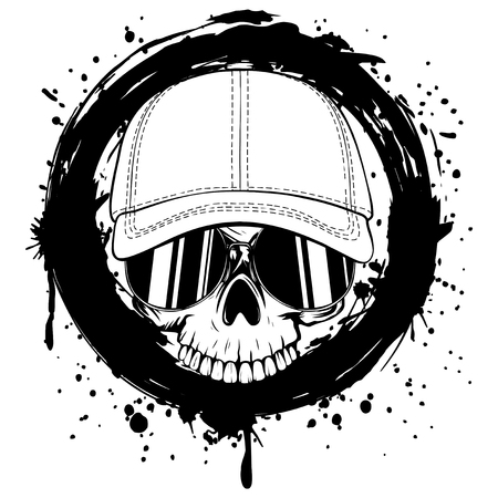 Abstract vector illustration black and white skull without lower jaw in sunglasses and baseball cap on grunge background. Design for tattoo or print t-shirt.