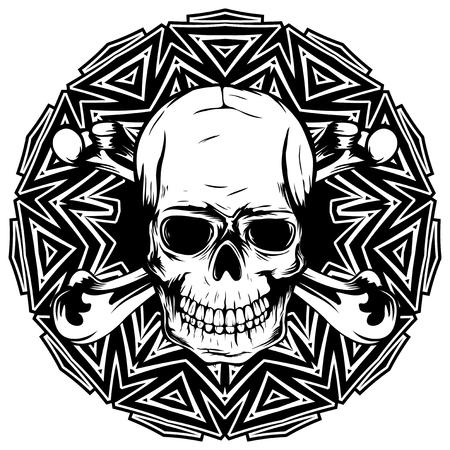 추상적 인 벡터 일러스트 레이 션 라운드 장식 된에 교차 뼈와 흑인과 백인 인간의 두개골. 문신이나 프린트 티셔츠 디자인.