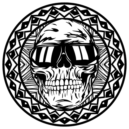 earphone: Abstract vector illustration disc jockey skull in sunglasses on round ornament. Design for tattoo or print t shirt.