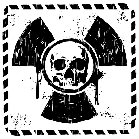 toxicity: Vector illustration square grunge black and white logo radiation to skull