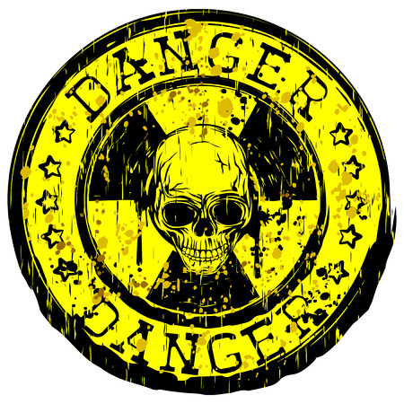 nuke: Vector illustration yellow stamp with radioactivity sign and inscription in circle danger. In center of radiation symbol grunge skull
