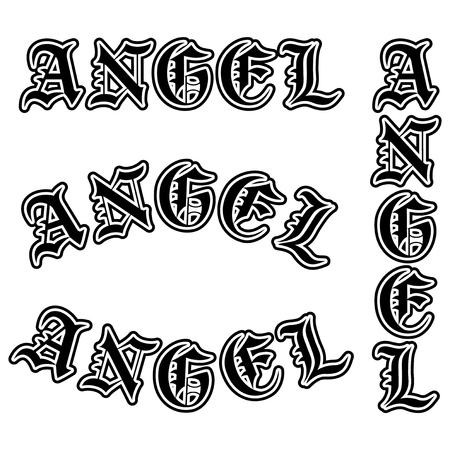 Abstract vector illustration black and white inscription angel in the Gothic style. Design for tattoo or print t-shirt .