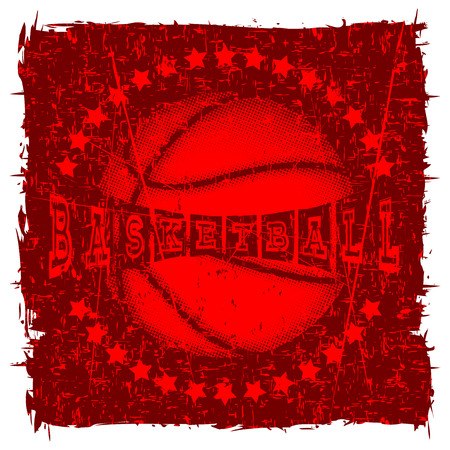 Vector illustration basketball ball and inscription basketball for t-shirt design