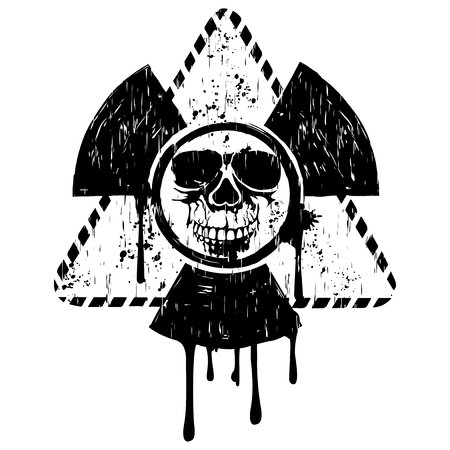 toxicity: Vector illustration black grunge triangular radiation sign and abstract skull