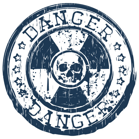 emanation: Vector illustration blue round stamp with radioactivity sign and inscription in circle danger with stars. In center of radiation symbol abstract grunge skull