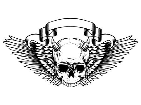 De abstracte demon van de illustratie zwart-witte gehoornde schedel met vleugels. Ontwerp voor tattoo of print t-shirt.