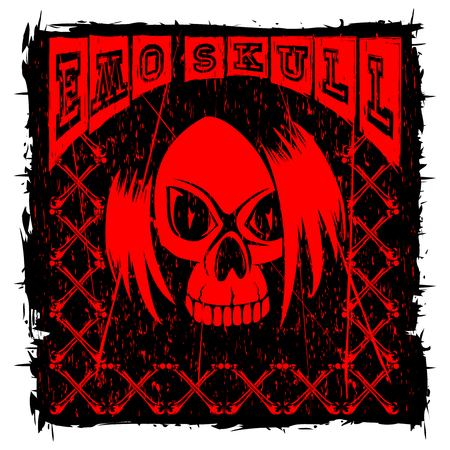 Vector illustration red and black inscription emo skull and crossed bones on grunge background and skull with hair. Design for print on t-shirt.