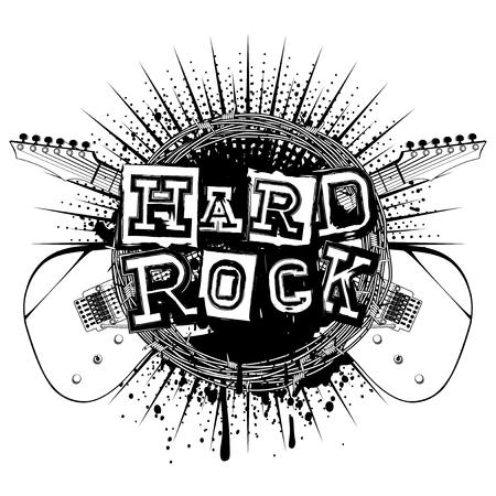 Vector illustration crossed guitars and lettering hard rock on grunge background Illustration