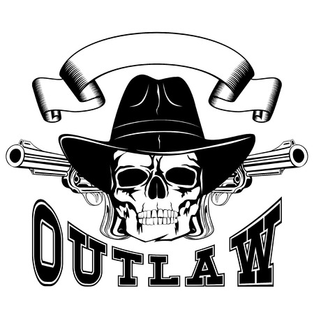 lawman: Vector illustration cowboy skull in hat and two revolvers. Lettering outlaw.