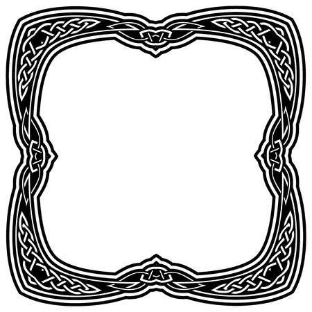 Abstract vector black and white illustration beautiful tracery frame with celtic knots. Design element for tattoo or logo.