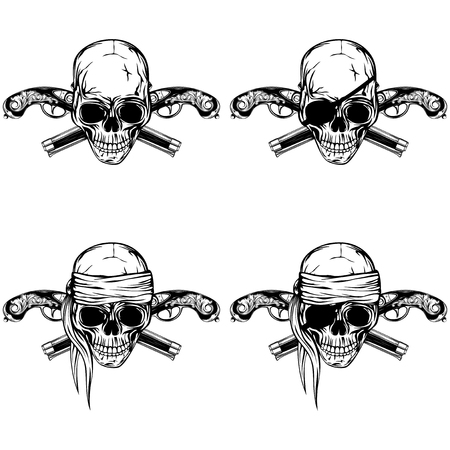 Vector illustration pirate skull and two crossed flintlock pistols set. Skull with eye patch and without Illustration
