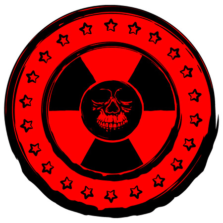 toxicity: Vector illustration red old dirty round stamp with radiation symbol and abstract grunge skull