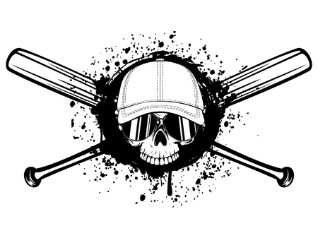 Abstract vector illustration black and white skull without lower jaw in sunglasses and baseball cap on crossed baseball bats. Design for tattoo or print t-shirt. Illustration