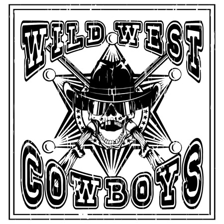 lawman: Vector illustration skull with sunglasses in cowboy hat and crossed rifles on sheriff star. Lettering american cowboys.