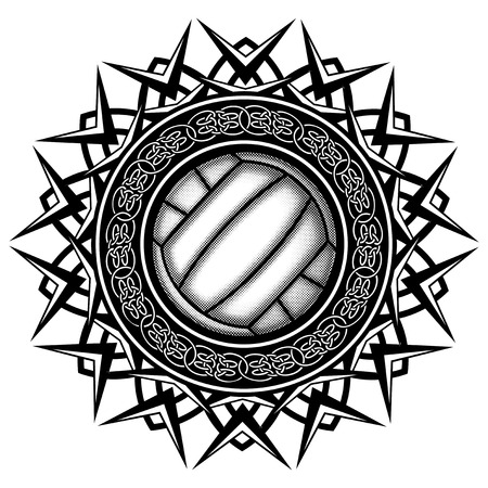 Abstract vector illustration black and white volleyball ball on round ornament with celtic knots. Design for tattoo or print t shirt. Illustration