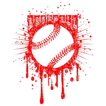 Abstract vector illustration red baseball ball on grunge background. Inscription baseball. Design for tattoo or print t-shirt.