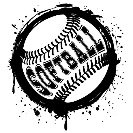 Abstract vector illustration black and white baseball ball on grunge background. Inscription softball. Design for tattoo or print t-shirt.