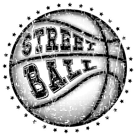Vector illustration inscription streetball with basketball ball for t-shirt design Illustration