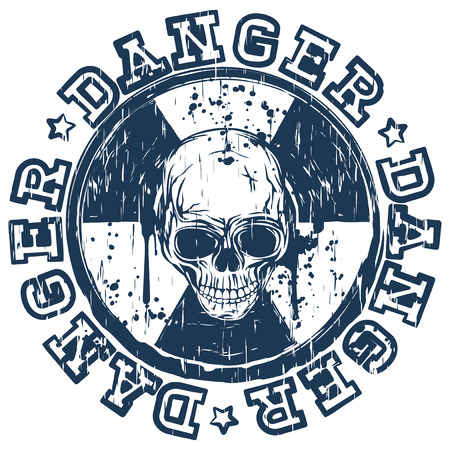 Vector illustration blue round stamp with radioactivity sign and inscription in circle danger. In center of radiation symbol abstract skull