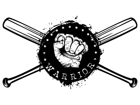 Vector illustration crossed baseball bats and hand with brass knuckle on grunge background. Inscription warrior. For tattoo or t-shirt design. Illustration