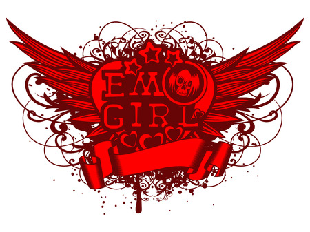 Vector illustration red inscription emo girl with stars and hearts on grunge background with wings and patterns. Cartoon skull with hair. For t-shirt design. Stok Fotoğraf - 82267046