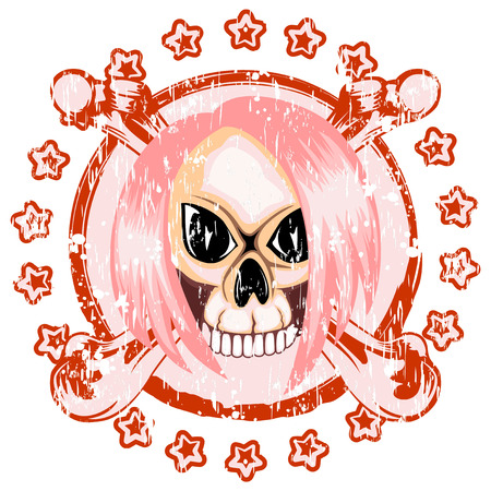 Vector illustration scratced stamp emo skull with hair and crossed bones. For t-shirt design.